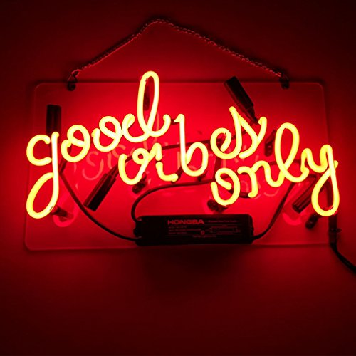 LiQi ' GOOD VIBES ONLY' Real Glass Handmade Neon Wall Signs for Room Decor Home Bedroom Girls Pub Hotel Beach Cocktail Recreational Game Room (14' x 10')