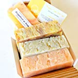 All Natural / Organic Handmade Soap Gift Set - Chamomile Neroli, Citrus Bliss, Ginger Lime w/ Aloe - Made in USA - Great for DRY SKIN, SENSTIVE SKIN - 85% Organic Ingredient