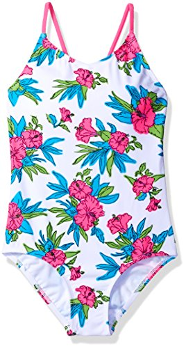 Kanu Surf Little Girls' Daisy Beach Sport 1-Piece Swimsuit, Krista Floral White, 6X