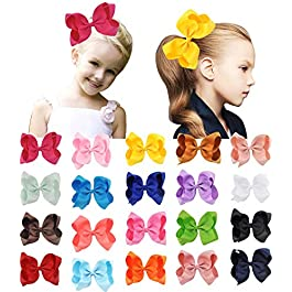 20 PCS 6″ Hand-madeboutique solid color ribbon hair bows clips for baby girls kids toddlers children