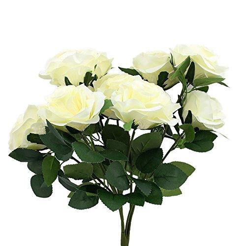 Topixdeals Premium artificial flower Romantic Rose 10 Big Heads Bounquet (White)
