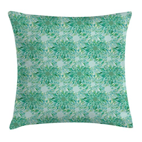 Turquoise Throw Pillow Cushion Cover by Ambesonne, Floral Pattern With Beryl Crystal Guilloche Flowers Carving Art Elements Image Print, Decorative Square Accent Pillow Case, 40 X 40 Inches, Green (Pattern Guilloche)