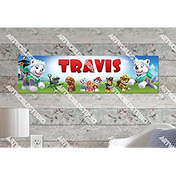 Birthday Party Banner Paw Patrol #3-8.5x30 Personalized Name Poster Customize With Your Childs Name