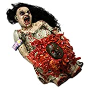 Halloween Haunters Life-Size Animated Pregnant Woman Zombie Torso with Demon Baby Prop Decoration  Don't be afraid, be terrified! A terrifying life-size zombie torso of a mangled pregnant woman's that's ripping out a pulsating demon baby fetus from h...