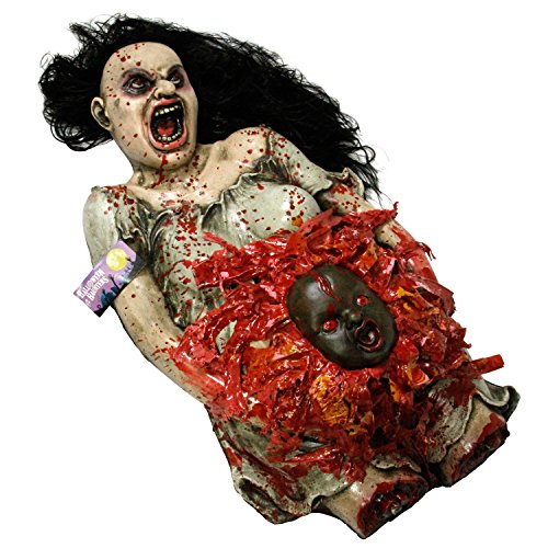 Professional Halloween Decorations (Halloween Haunters Life-Size Animated Pregnant Woman Zombie Torso with Demon Baby Prop Decoration - Animatronic Rubber Latex Scary Pulsating Baby - AC & Battery Operated)