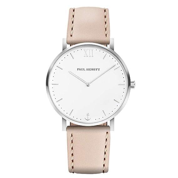 PAUL HEWITT Armbanduhr Damen Sailor Line White Sand Edelstahl Damen Uhr (Silber), Damenuhr mit Lederarmband in Beige, weißes Ziffernblatt