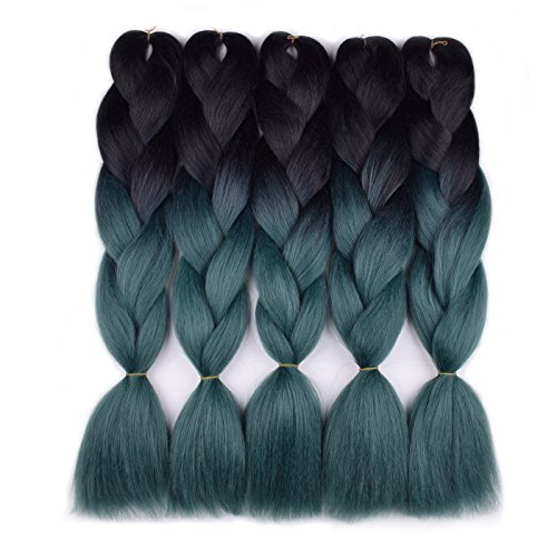 Jumbo Braiding Hair Kanekalon 5pcs/lot (black/dark green) Jumbo Braid Hair Extension Ombre Colors