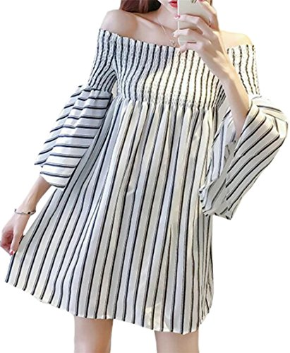 Flare Swing Mini Womens Shoulder Off Sleeve Jaycargogo Striped Dress Fashion Picture As qXwx0AFC