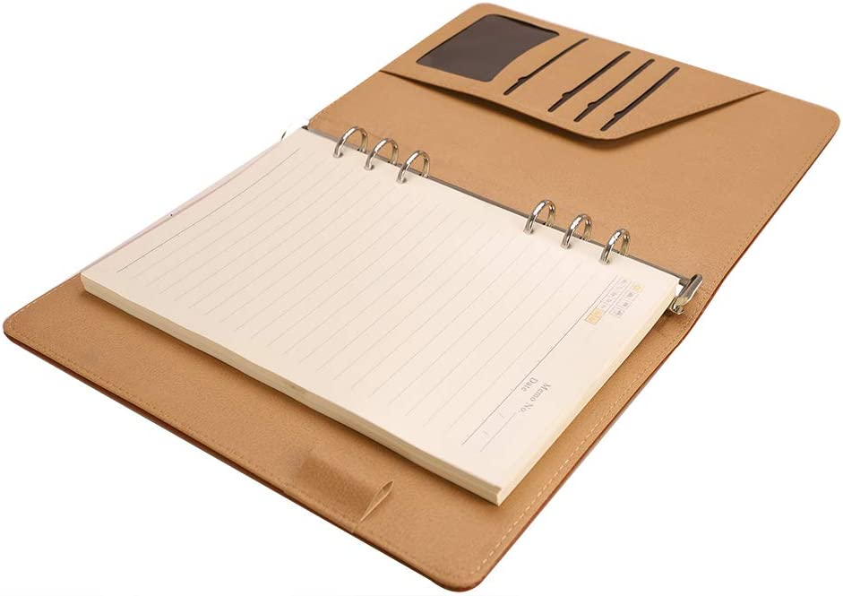 A5 6-Ring Loose Leaf Binder Journal w// 80 Insert Pages Ruled Refillable Spiral Notebook Loose-Leaf Business Notepad 100 Sheets 8mm Lined Spiral Journal Travel Journal Diary Steno Memo Book