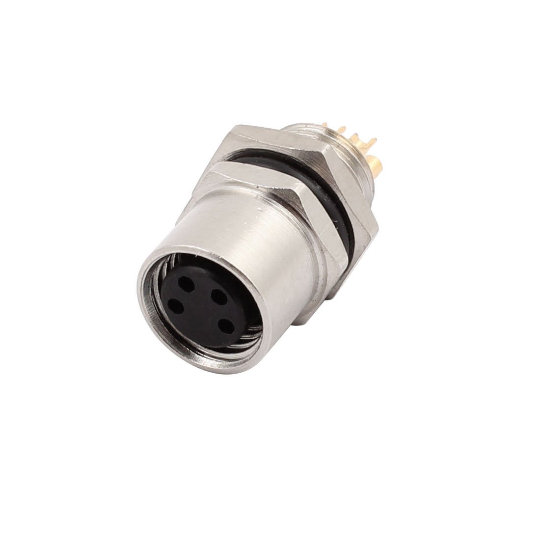 M8-4 AC 30V 4A 4P 8mm Thread Flange Male Waterproof Cable Connector