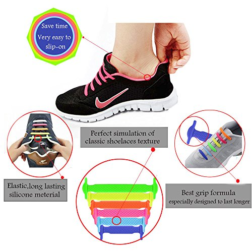 d6876d12020d6f LattoGe No Tie Silicone Shoelaces Tieless Elastic Lace Lock Bands for Kids