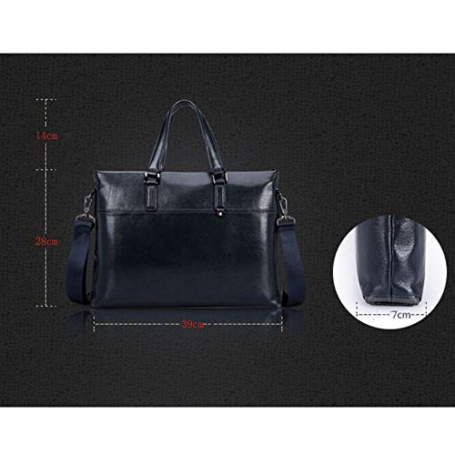 JUNBOSI Hochwertige Leder Herrenhandtasche - Business-Aktentasche - Social Etiquette Schulter-Laptoptasche - Großraumtaschen Schwarz, Blau Blau