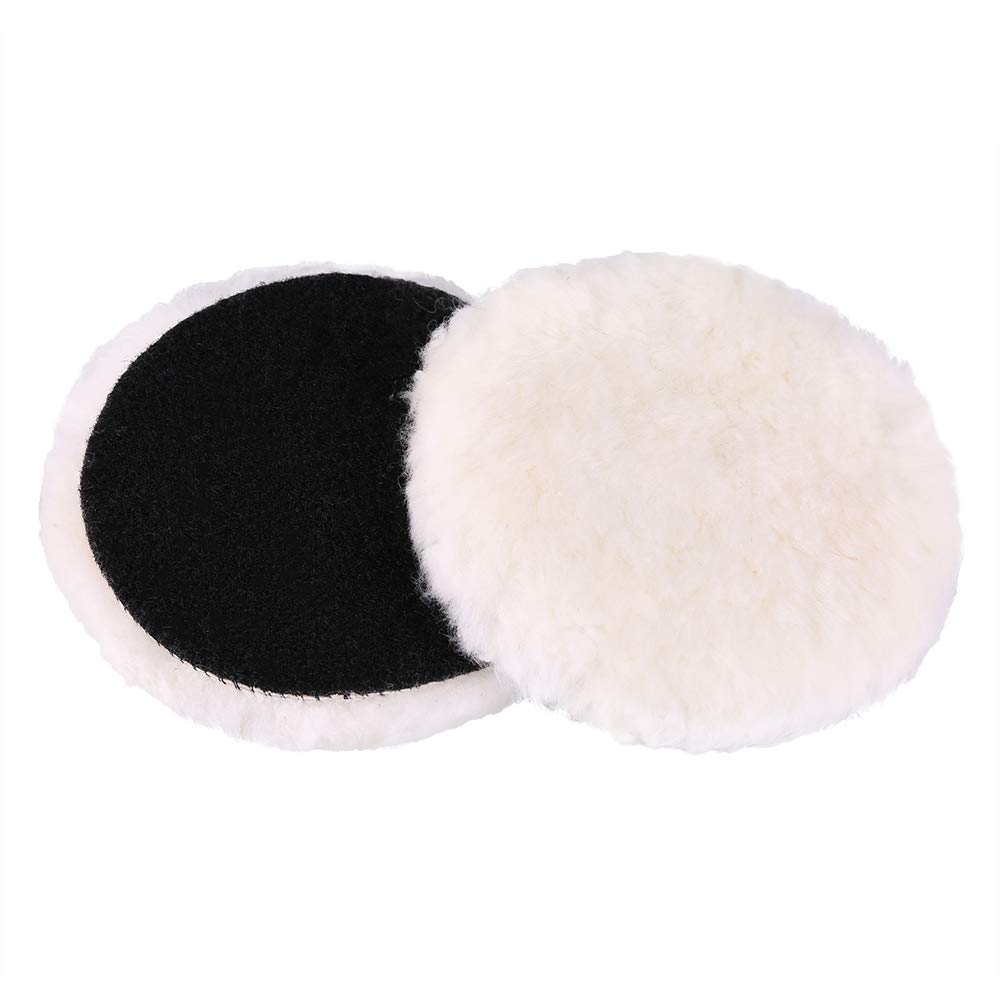 Wool Polishing Pads, LotFancy Car Auto Hook and Loop Buffing Pads, 6 Inches, for Rotary and Random Orbit Sander/Polisher, Pack of 2