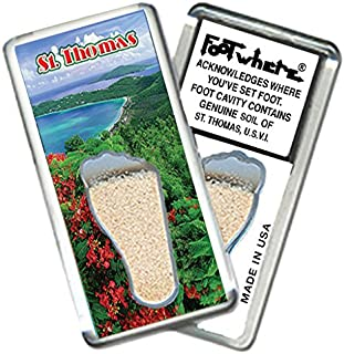 "product image for St. Thomas""FootWhere"" Magnet. (StT204 - Magens Bay). Authentic Destination Souvenir acknowledging Where You've Set Foot. Genuine Soil of Featured Location encased Inside Foot Cavity. Made in USA."