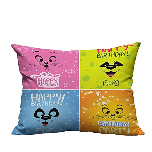 Price comparison product image YouXianHome Home DecorCushion Covers for Kids Cartoon Animals Cat Panda Face Party Items Pink Orange Blue and Comfortable and BreathableDouble-Sided Printing 19.5x26 inch