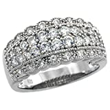 Sterling Silver Vintage Style Cubic Zirconia Cigar Band Ring 3/8 inch wide, size 7