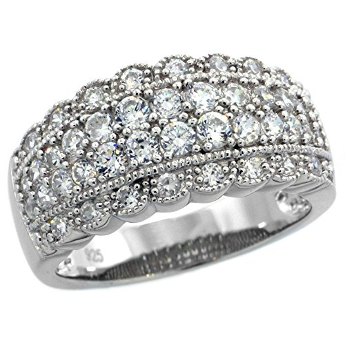 - Sterling Silver Vintage Style Cubic Zirconia Cigar Band Ring 3/8 inch wide, size 9