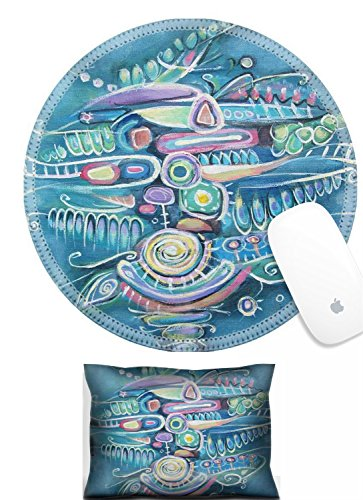 Luxlady Mouse Wrist Rest and Round Mouse Wrist Set IMAGE: 42246601 Abstract acrylic painting Canvas Bouquet of flowers Sea background Blooming peas Turquoise color square composition Aztec maya incas
