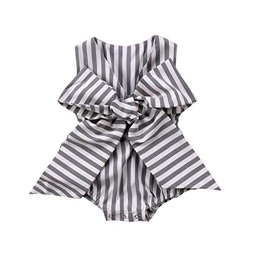 - Newborn Baby Girl Striped Bubble Romper Jumpsuit Outfits Infant Ruffle Sleeveless Bodysuit Summer Clothes (Grey Striped Bowknot Romper, 18-24 Months)