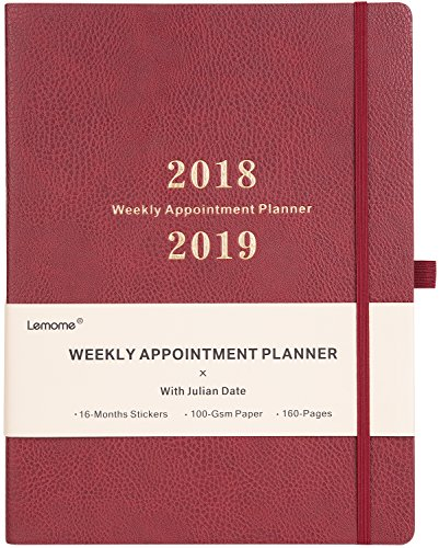 Planner 2018-2019 with Pen Holder - Weekly Appointment Book/Planner with to-DO List, Thick Paper to Achieve Your Goals & Improve Productivity, 8.5 x 11, Back Pocket with Julian Date - Red Brown