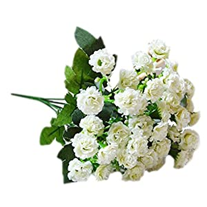 6 Branches 30 Flower Heads Small Lilac Silk Artificial Flowers Gifts-White 2
