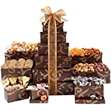 Broadway Basketeers Towering Heights Kosher Gourmet Gift Tower with an Assortment of Snacks, Sweets, Cookies and Nuts