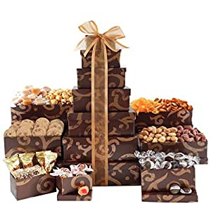 Broadway Basketeers Thinking of You Gift Tower with an Assortment of Gourmet Snacks, Sweets, Cookies and Nuts