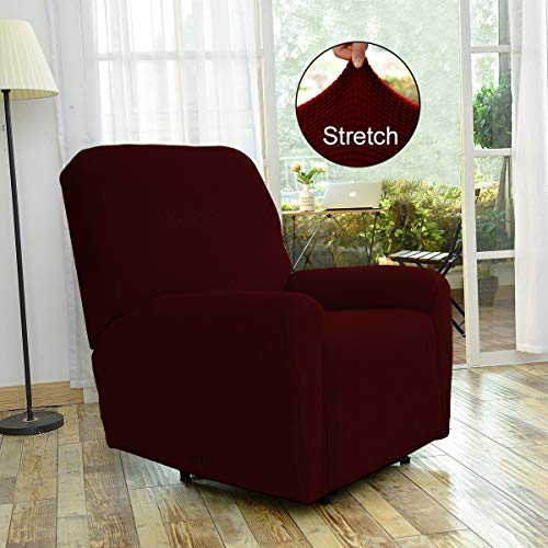 Fancy Linen Sure Fit Stretch Sterling Recliner Slipcover Solid Burgundy New # Stella