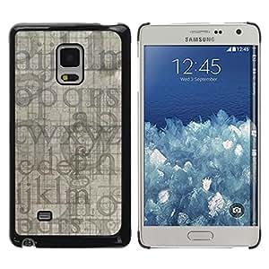 QCASE / Samsung Galaxy Mega 5.8 9150 9152 / Las letras del alfabeto azul gris aleatoria moderna / Delgado Negro Plástico caso cubierta Shell Armor Funda Case Cover
