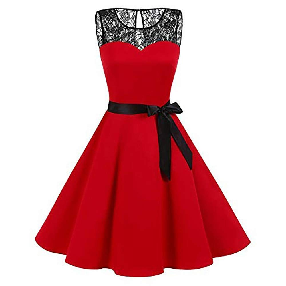 BOLUOYI Women Sleeveless Solid Lace Hepburn Vintage Swing High-Waist Pleated Dress Plus size 249