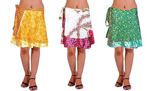 - Lot of 3 Wrap-Around Indian Vintage Reversible Sari Magic Skirts Knee Length - 2 Layers - Art Silk