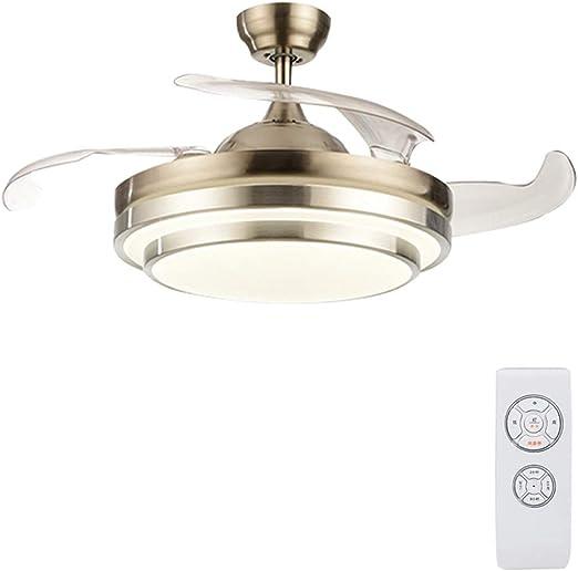 YX Ceiling Fans Luz de ventilador de techo, lámpara LED regulable con aspas invisibles retráctiles y control remoto, motor silencioso, función de sincronización para sala de estar, dormitorio, resta: Amazon.es: Hogar