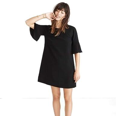 4d770b11b7d Madewell Flutter Sleeve Mini Dress for Women in Black