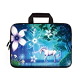 14 15 15.4 15.6 inch Laptop Handle Bag Computer Protect Case Pouch Holder Notebook Sleeve Neoprene Cover Soft Carrying Travel Case Fit Dell Lenovo HP Chromebook ASUS Acer (Cute Unicorn)
