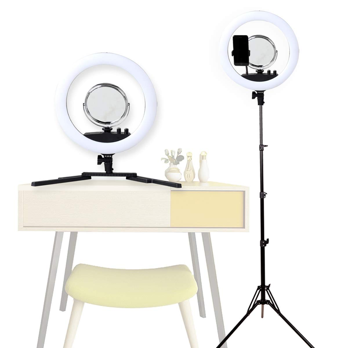 GSKAIWEN 12 Inch LED Adjustable Light 3000-5500K Self-Timer Lamp Ring Light Carrying Tripod and Bag with Make-Up Mirror,Recording Video, Photography(Black)