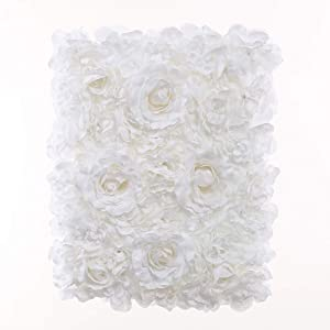Blush Blooms Premium Decorative Flower Panel for Flower Wall Handmade with Artificial Silk Flowers for Wall Decor, Flower Wall, Wedding, Bridal & Baby Shower, and Event Decor (White)