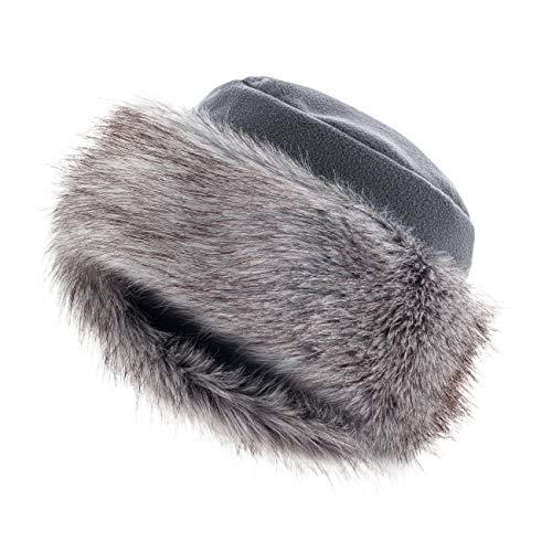 Futrzane Faux Fur Trimmed Winter Hat for Women - Classy Russian Hat with Fleece (M, Grey - Silver Fox)