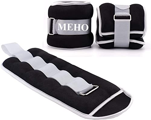 MEHO Ankle Weights, Ankle Weights for Women, Ankle and Wrist Weights for Men, Leg Weights Withe Adjustable Strap, Fitness, Resistance Training, Running – 1lb to 10lbs Pair