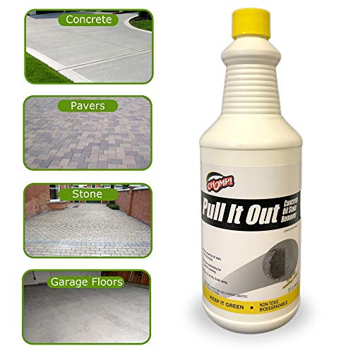 Chomp Pull It Out Oil/Stain Remover for Concrete, Grease, Remover for Garage Floors & Driveways (Stone Cleaning Patio Pavers)