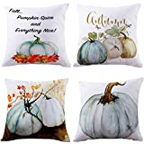 Decorative Pillow Cover - Thanksgiving Pillow Case,Bokeley 4 Pack Cotton Linen Square Fall Harvest Pumpkin Print Decorative Throw Pillow Case Bed Home Decor Cushion Cover (Blue)