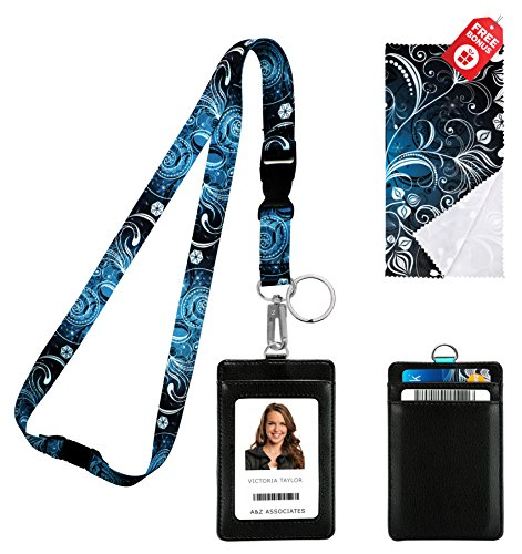 Cruise Vintage Print (Vintage Floral Print Lanyard with PU Leather ID Badge Holder with 3 Card Pockets. Safety Breakaway Clip, key ring, Mini Note Card & Large Ultra Fine Microfiber Cleaning Cloth.)