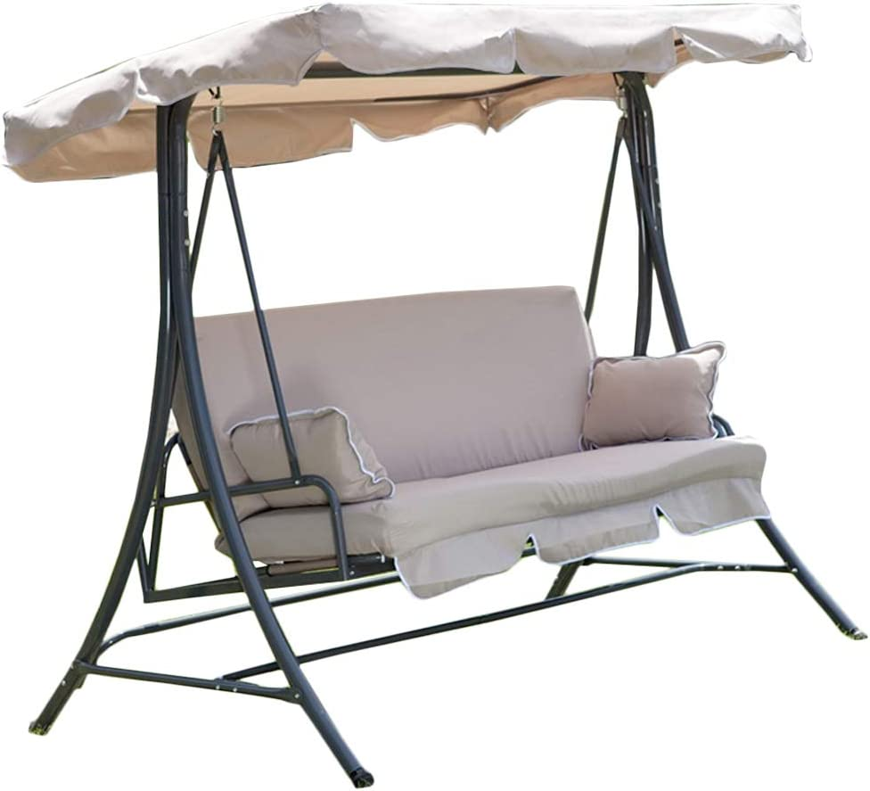 Garden Winds X-Large Universal Replacement Swing Canopy Top Cover - RipLock - Beige