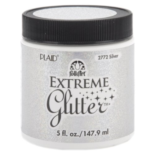 (FolkArt Extreme Glitter Acrylic Paint in Assorted Colors (5-Ounce), 2772 Silver)
