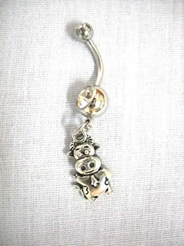 New Farm Animal Bull/Cow w Bell Waving HI Charm ON Clear Belly Button Ring