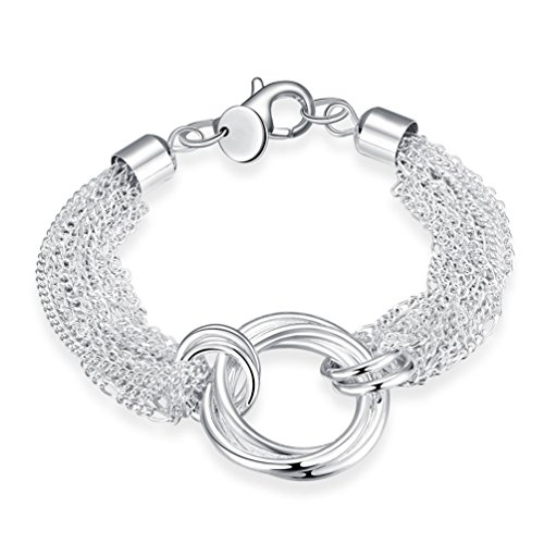 (FENDINA Women's Jewelry Multi Strands Open Circle Bracelet 925 Sterling Silver Plated Adjustable 8 Inches Chain Bracelets)