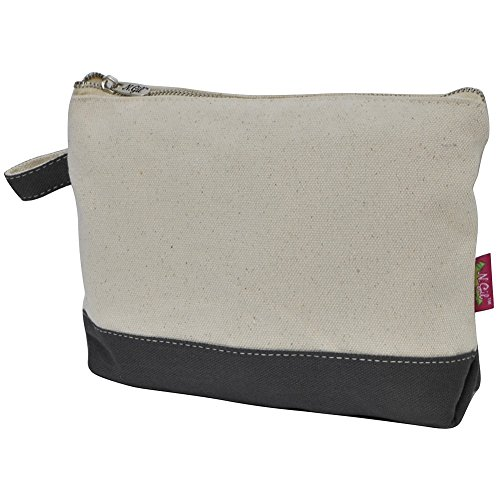 Jute/Canvas NGIL Large Cosmetic Bag Pouch GREY