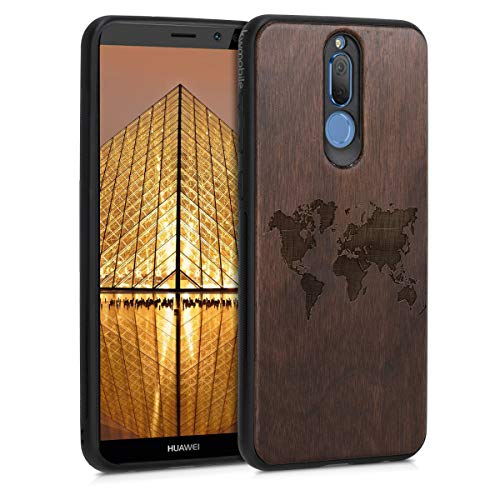 kwmobile Wooden Case Compatible with Huawei Mate 10 Lite - TPU Bumper - Travel Outline Dark Brown