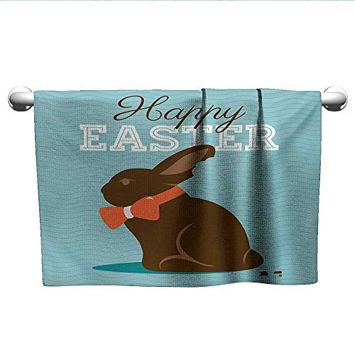 alisoso Easter,Personalized Towels Chocolate Bunny with an Orange Bow Tie on a Wavy Stripes Background Fast Drying Fitness Hand Towels Dark Brown Orange Pale Blue W 28