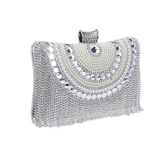 Prom Shoulder Ladies Soirée Womens Party Bag NAOMIIII Diamante silver Wedding Sparkly Nuptiale Clutch qw0pza6W