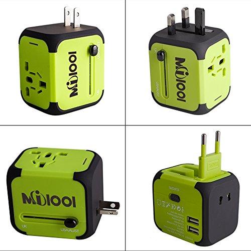 Milool universellen Reise-Adapter mit Doppel USB-Ports aus 150 Ländern weltweit US UK EU AU Universal fusionierten Sicherheit AC-in einem Ladegerät(Grün)